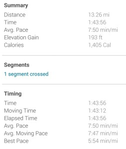 Screen grab of Garmin's numbers for my race.