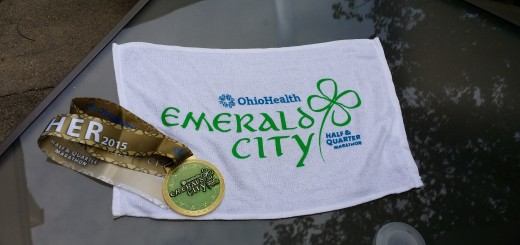 Emerald City Half Marathon Medal and Sweat Towel